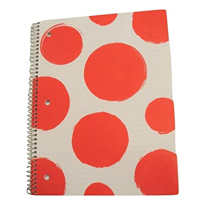 "Carolina Pad Studio C College Ruled Spiral Notebook with Textured Poly Overlay Cover ~ Spot on (Red Polka Dots; 8"" x 10.5""; 80 Sheets, 160 Pages): Toys & Games"