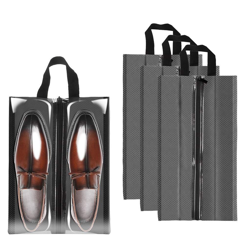Sariok Clear Shoe Bags for Travel, 4pcs X-Large Travel Shoe Bags Packing Organizer Storage for Men Women (Grey)