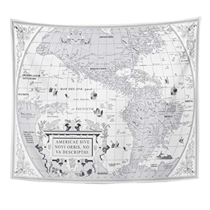 Amazon Com Emvency Decor Wall Tapestry World Old Map Of South And