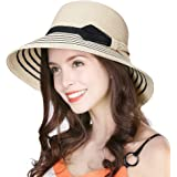 Jeff & Aimy Womens UPF 50 Straw Sun Hat Floppy Wide Brim Fashion Beach Accessories Packable & Adjustable
