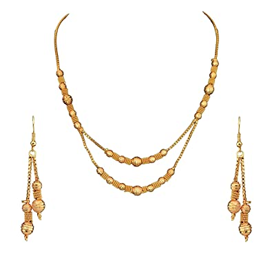 5b0a732793 Buy Sitashi Imitation/Fashion Jewellery Golden Beads Necklace Set for Girls  and Women Online at Low Prices in India | Amazon Jewellery Store - Amazon.in