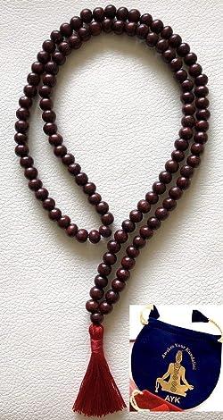 Rosewood red sandalwood 8mm handmade 108+1 beads prayer japa mala necklace -Energized yoga meditation beads jaap mala - W/Free Velvet or 100% Jute Mala Pouch - US Seller