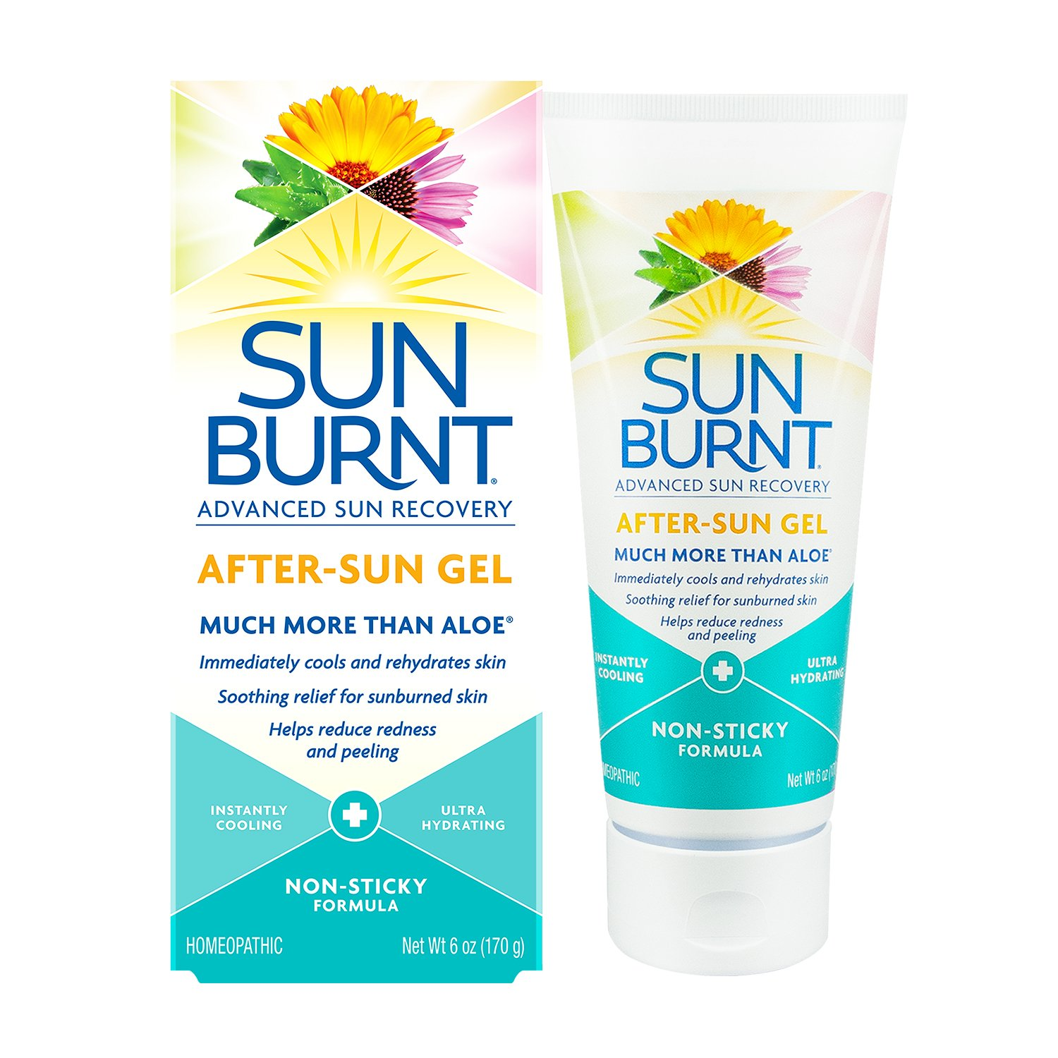 SunBurnt Advanced Sun Recovery After-Sun Gel 6oz, Instantly cooling, ultra hydrating, non-sticky relief for sunburns & dry skin with aloe Sun-3893