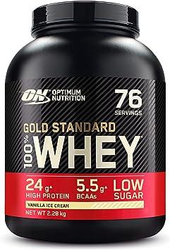 Optimum Nutrition Gold Standard 100% Whey Proteína en Polvo, Glutamina y Aminoácidos Naturales, BCAA, Helado de Vainilla, 76 Porciones, 2.28kg, ...