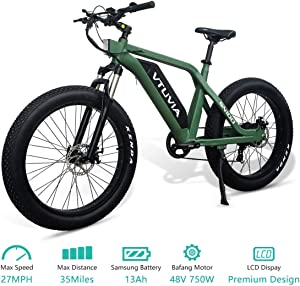 vtuvia Electric Bike for Adults, 26 Inch Fat Tire Powerful Motor 48V E-Bikes, Mountain Beach Electric Bicycle for Women Men