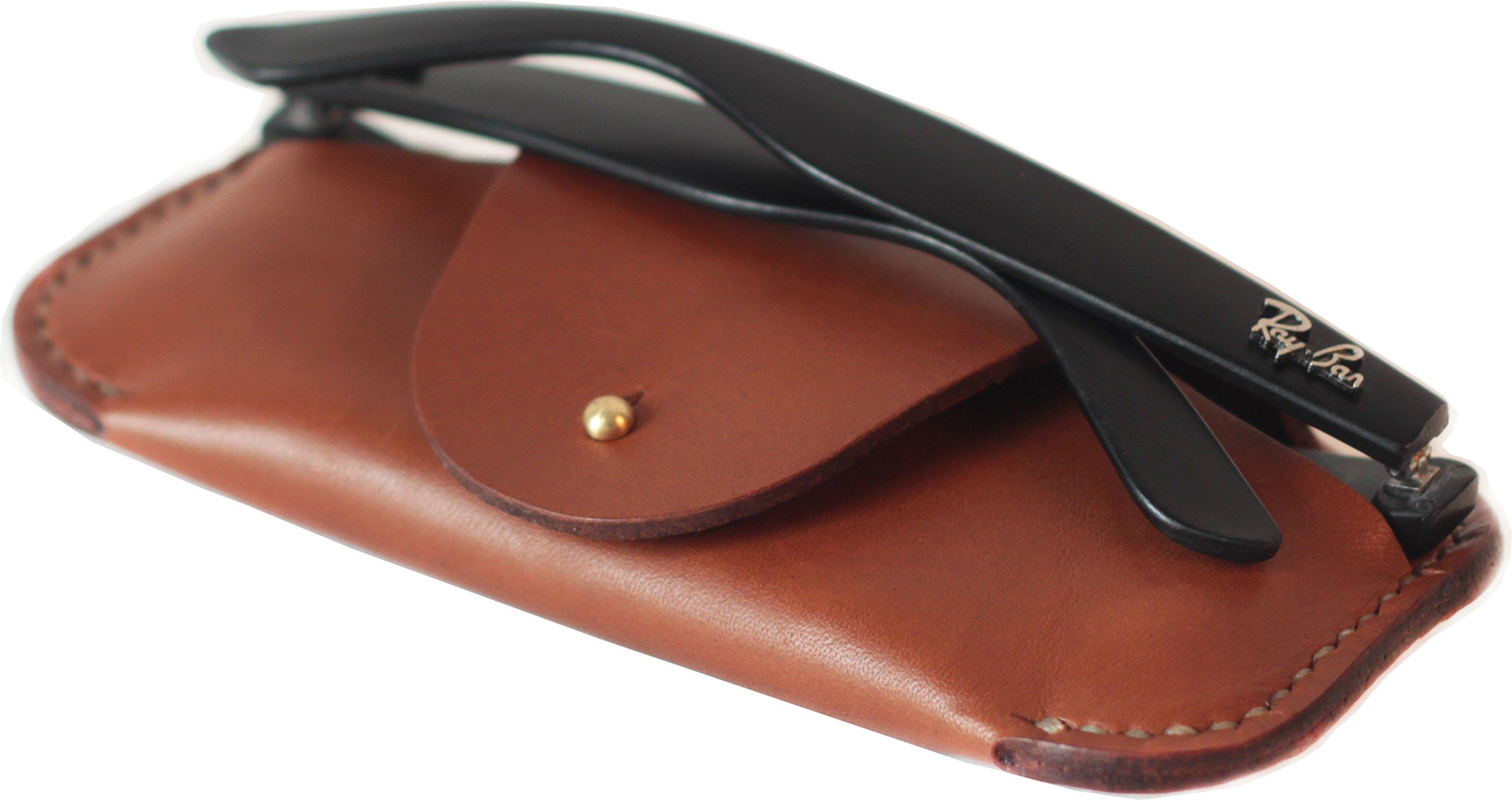 MEKU Handmade Leather Eyeglass Case Sunglass Holder