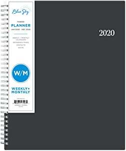 """Blue Sky 2020 Weekly & Monthly Planner, Flexible Cover, Twin-Wire Binding, 8.5"""" x 11"""", Enterprise"""