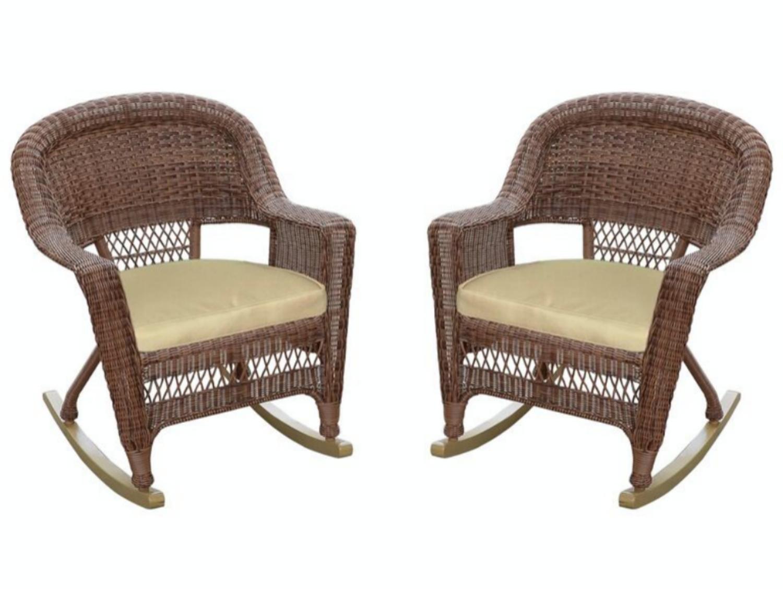Amazon com set of 2 honey brown woven resin wicker outdoor patio rocker chairs tan cushions garden outdoor