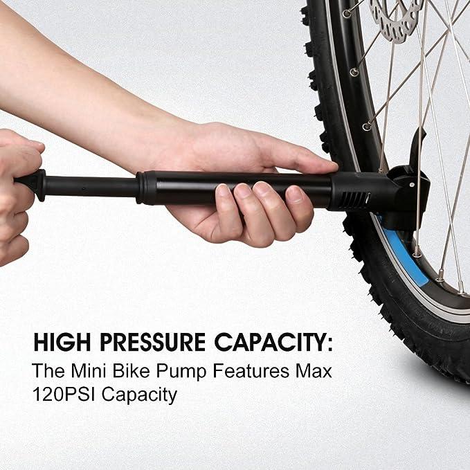 Enkeeo - Mini Bomba de Aire de Mano para Bicicleta (120 PSI, Válvula Presta y Schrader, Ultraligera Compacta) negro: Amazon.es: Deportes y aire libre