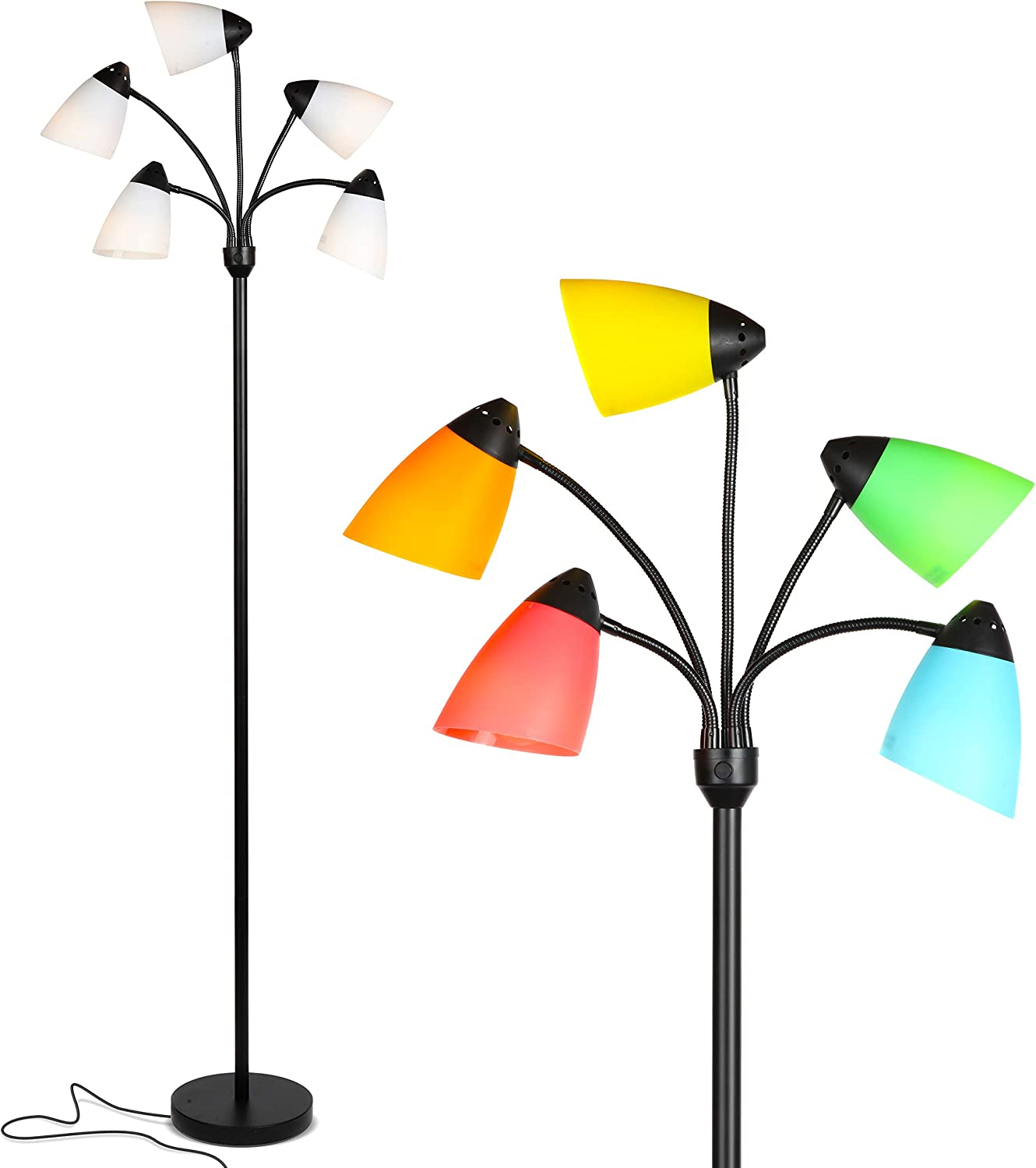 Brightech Medusa LED Floor Lamp - Multi Head Adjustable Tall Pole Standing Reading Lamp for Living Room, Bedroom, Kids Room - Includes 5 LED Bulbs and 5 White & Colored Interchangeable Shades – Black