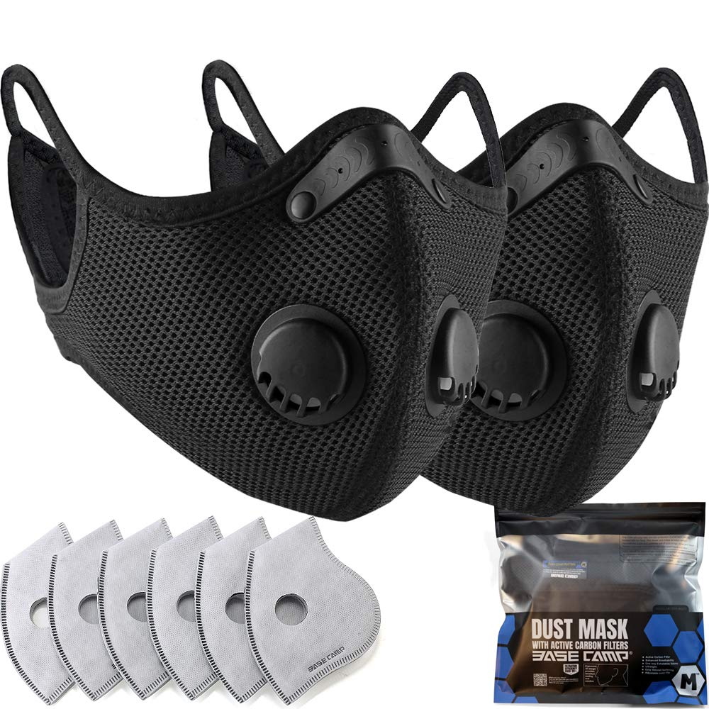 BASE CAMP M Plus Dust Mask 2 Pack with Extra 6 Activated Carbon Filters for Woodworking Construction Mowing Sanding Gardening Cleaning Painting Sawing and Grinding(2, Black)
