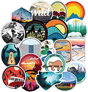 Wilderness Nature Stickers Outdoors Hiking Camping Travel Adventure Stickers Pack 50 Pcs Suitcase Stickers Vinyl Decals for Car Bumper Helmet Luggage Laptop Water Bottle
