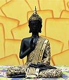 CraftJunction Antique Black Golden Coloured Thai Buddha Showpiece(6.5*5*3 Inches)