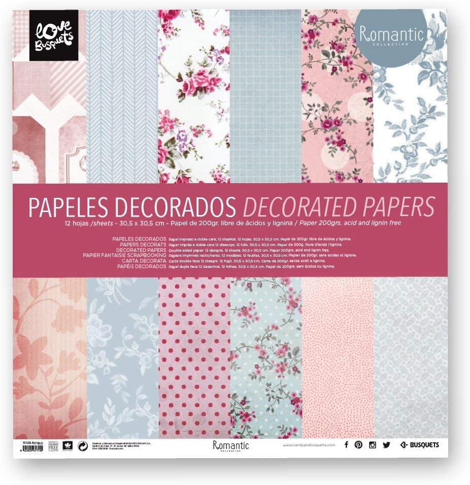 Busquets - Papeles Decorados Scrapbooking Romantic 30,5x30,5: Amazon.es: Juguetes y juegos