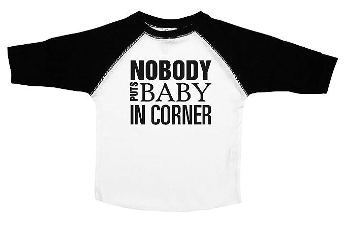 74bb8950 Baffle Nobody Puts Baby in The Corner/Funny Toddler Shirts/Kids Baseball  Tee (