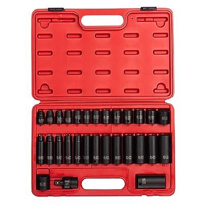 "Sunex 3330, 3/8"" Drive Master Impact Socket Set, 12 Pt., 29Piece, Metric, 8mm-22mm, Standard/Deep, Cr-Mo Steel, Heavy Duty Storage Case, Includes Universal Joint - Metric Deep Impact Socket Set - .com"
