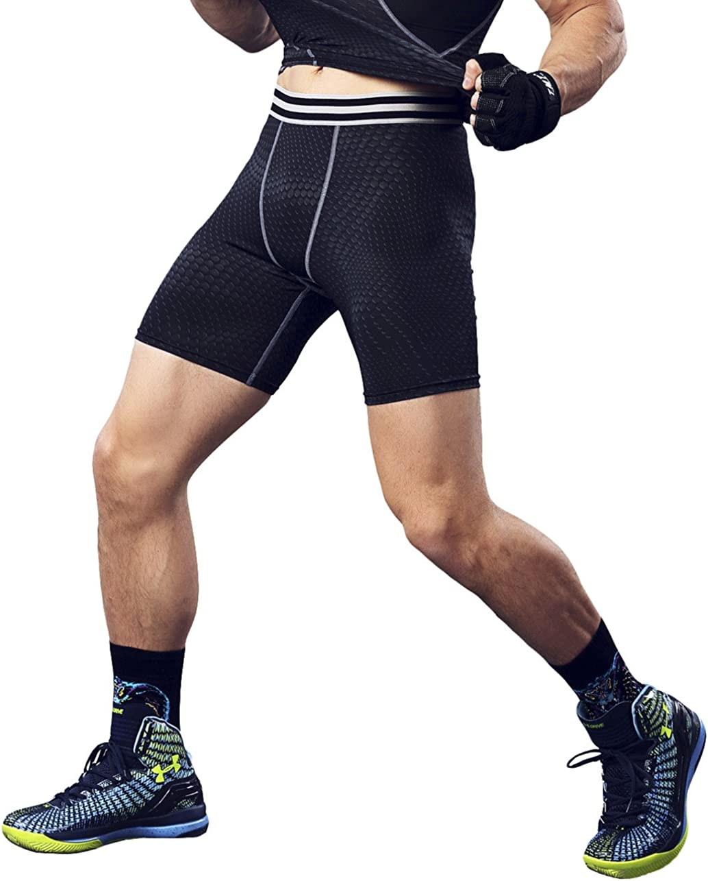 Cityoung Mens Compression Shorts Cool Dry Sports Tights Training Baselayer