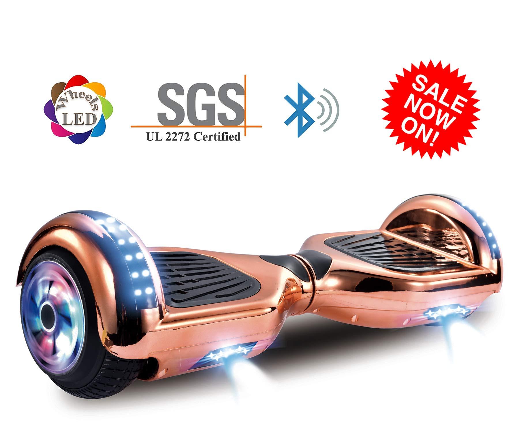 Dartjet 6.5'' Smart Self-Balanced Hoverboard UL-2272 Certified, Build-in Bluetooth Speaker, Illuminated Colorful LED Wheels, LED Fender & Front Lights (Chrome Rose)