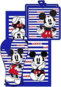 Disney Oven Mitt towel 3 piece Kitchen Set Mickey Mouse Strips USA BLUE