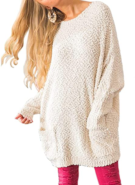 Happy Sailed Women Long Sleeve Fuzzy Knit Tunic Sweater Dress with Pockets