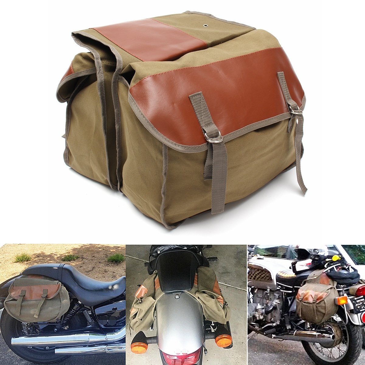 GEMITTO Motorcycle Saddle Bag Heavy-Duty Travel Panniers 2 Strap Motorbike Bicycle Bag for Travel Army Green by GEMITTO