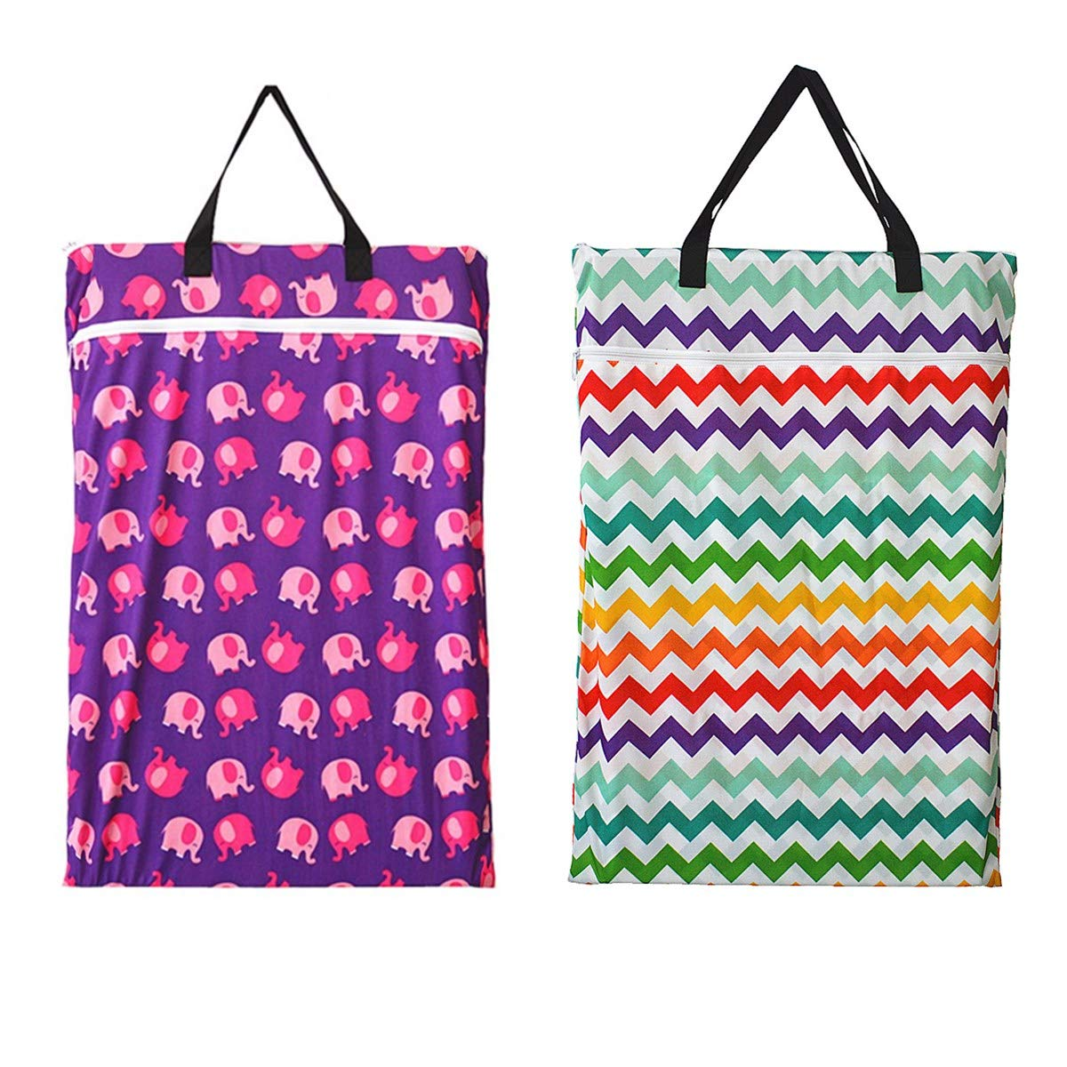 Grey Chevron 2 Pack Large Hanging Wet Bags Laundry Pail Bags Cloth Diapers Reusable