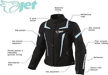 EU 44 Jet Blouson Veste Moto Femme Imperm/éable avec Protection Textile ROCHELLE Bleu, 2XL