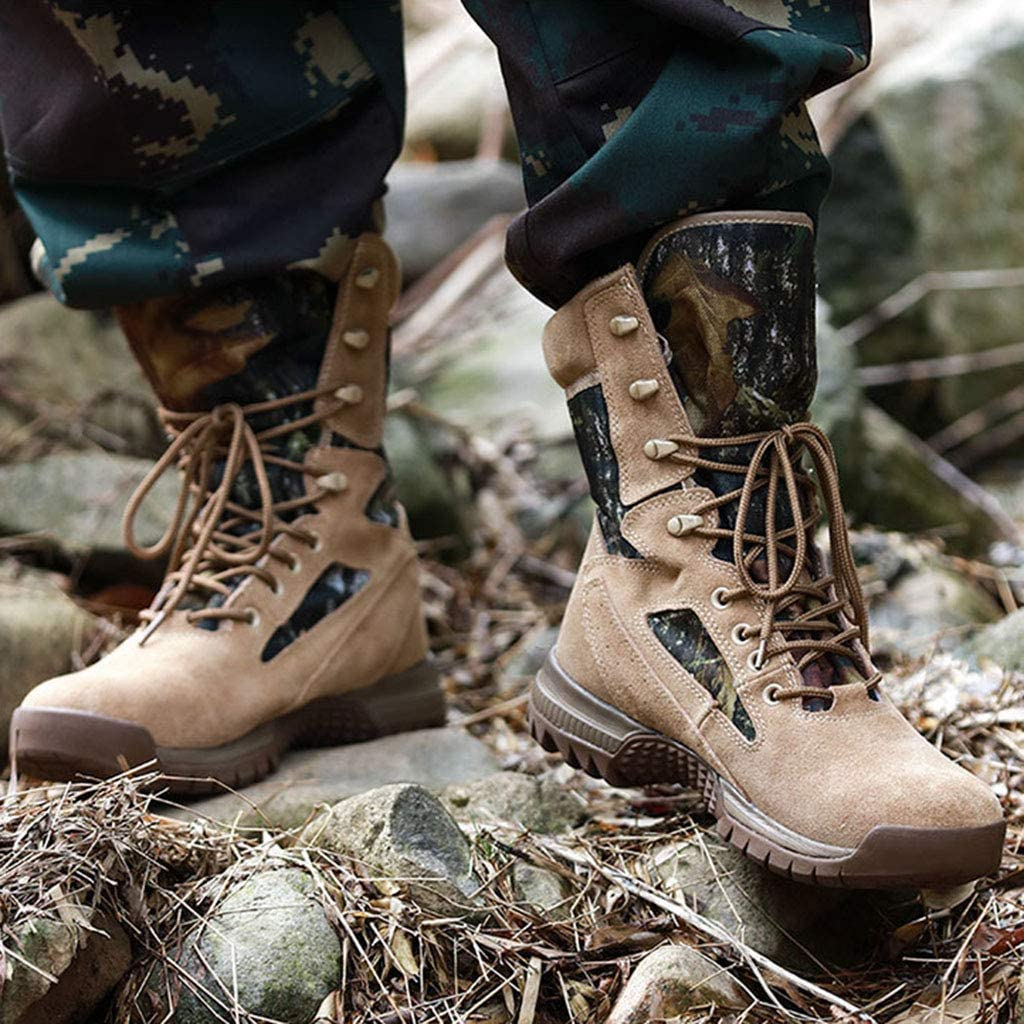 Wangxyan Hommes Bottes Tactiques Militaires Combat Armee Chaussures Police Securite Botte Utilitaire Chaussures De Travail Jungle Mountain Botte Glissez Sur La Chaussure Militaires