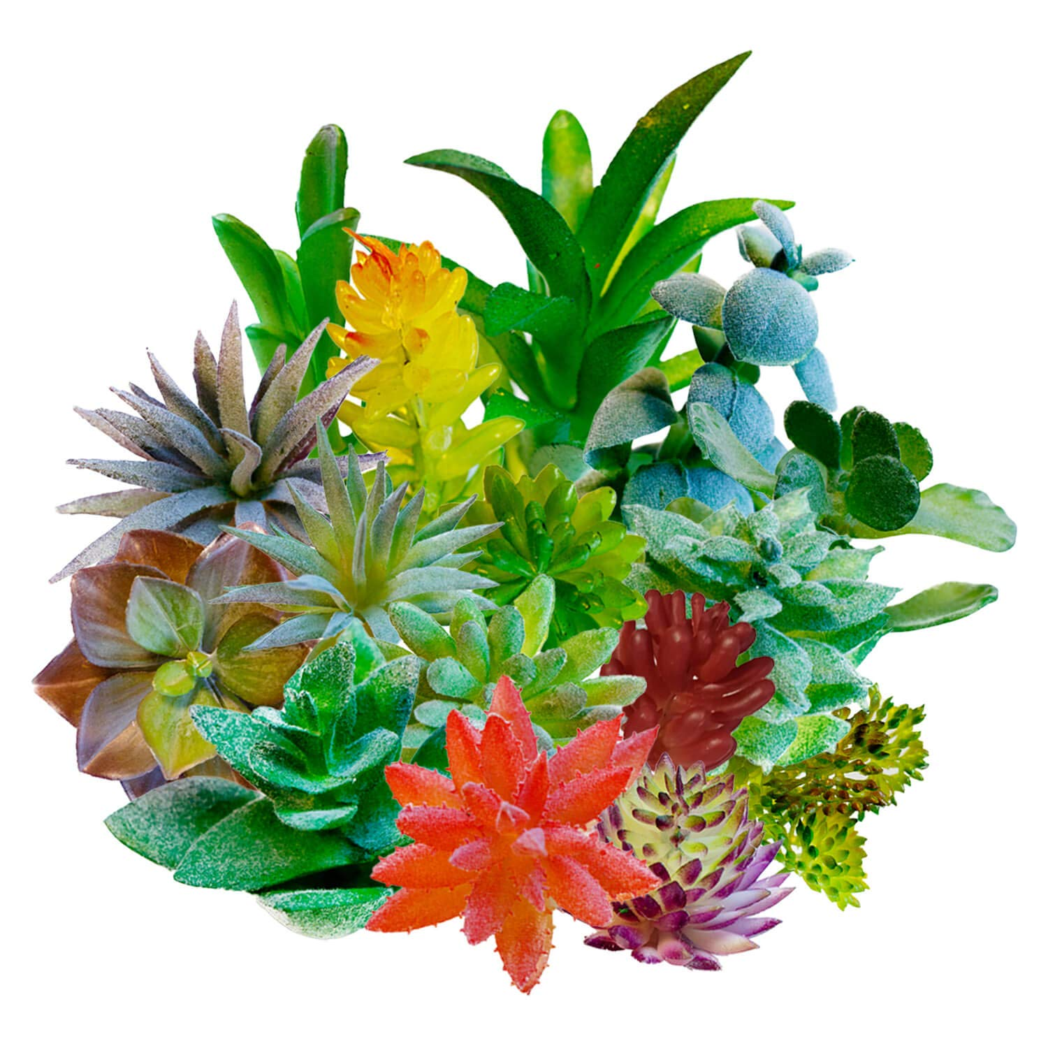 Artificial Succulent Plants Faux Assorted – 16PCS Unpotted Mini Plastic Greenery Bulk Realistic Decoration Small Fake Flowers Cactus Planta – Great for Indoor Outdoor Home Wall Decor, Vase Arrangement