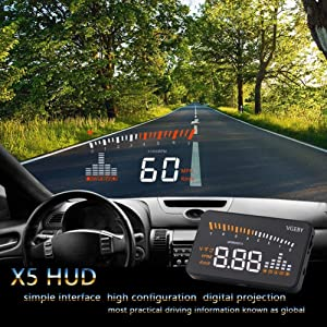 VGEBY Car Truck OBD II HUD Head Up Display Color LED Projector Speed Warning System