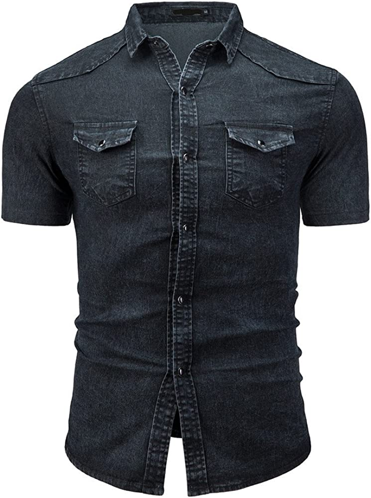 Shirt for Men F/_Gotal Mens T-Shirts Fashion Summer Short Sleeve Denim Shirts Slim Fit Casual Sport Tees Blouse Tops