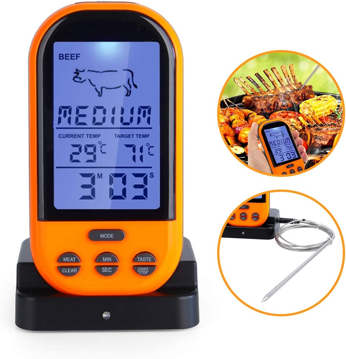 Wireless Meat Thermometer, BBQ Grill Waterproof Digital Cooking Food Thermometer Smart Remote Meat Grill Thermometers for Cooking, Barbeque, Smoker, Grilling, Oven, BBQ Kitchen