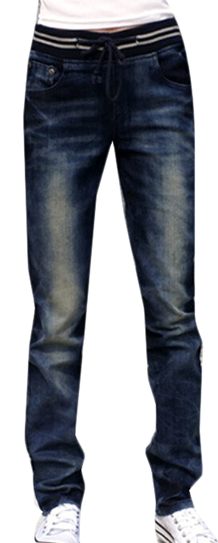 BYBU Womens Washed Elastic Waist Jeans