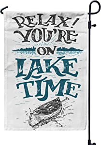 Musesh Spring Garden Flag,Relax You39Re Lake Time House Decor Sign Rustic Wall Lakeside Living Cabin Cottage Handlettering for Home Outdoor Decorative with Double-Sided Printing