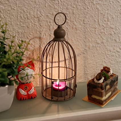 home organizer tech decorative multifunction birdcage shaped metal candleholder tabletop candle lantern holder stand for