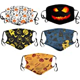 6pcs Kids Halloween Face Covering Pumpkin Adjustable M.ask Reusable for Kids Ages 3-12