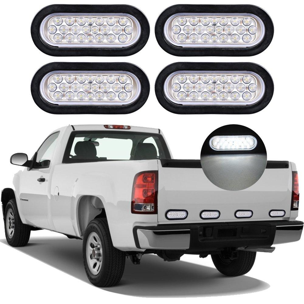 4X RED 6 Oval LED Clear Lens Brake Stop Tail Light Grommet Plug RV Truck Trailer