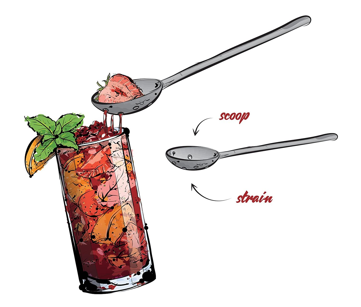 Multi Use Stainless Steel Cocktail Tool All In One Strainer /& Spoon NOD Products Sangria Stroon