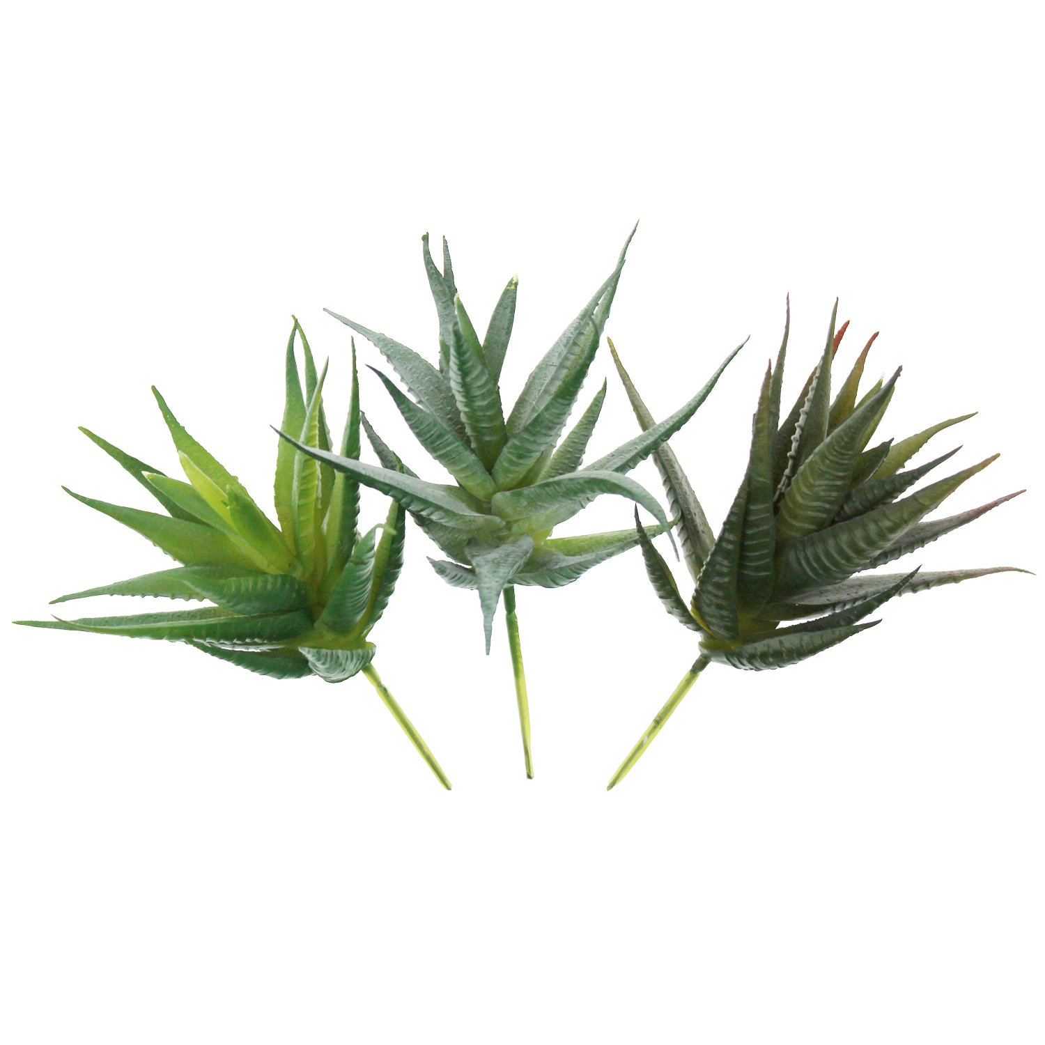 LJY 3 Pieces Faux Aloe Realistic Artificial Succulent Greenhouse Small Plants Unpotted for Home Garden Decoration, Color Assorted