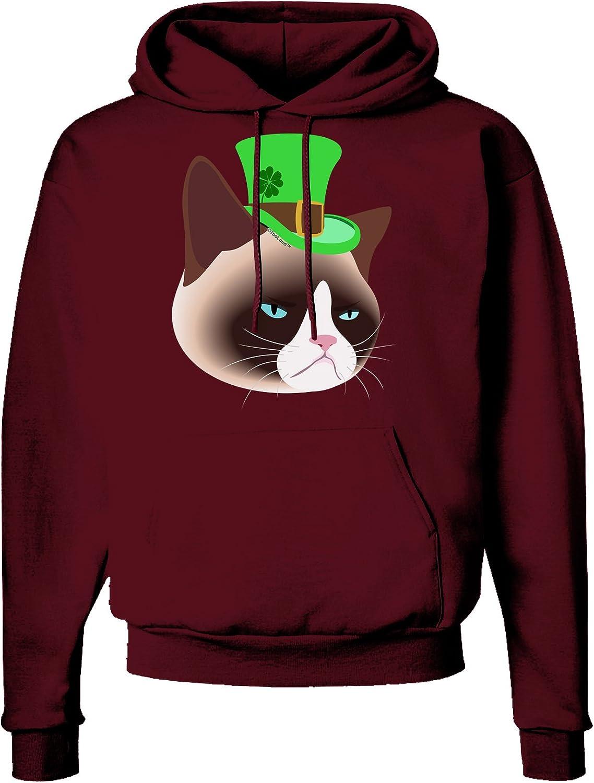 TooLoud Leprechaun Disgruntled Cat Dark Hoodie Sweatshirt