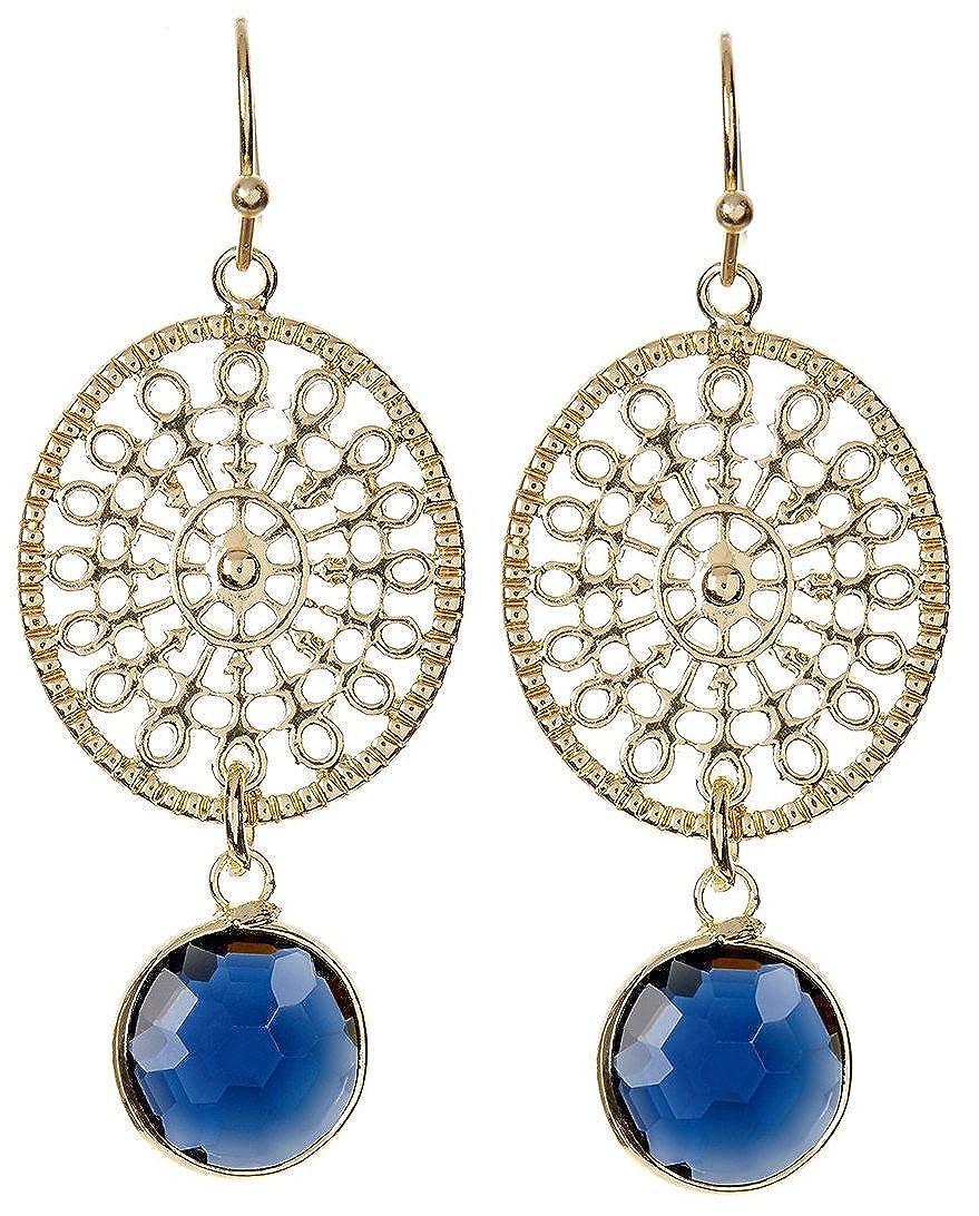 London Blue Quartz With Hollow Disc Wholesale Gemstone Fashion Jewelry Drop Earrings