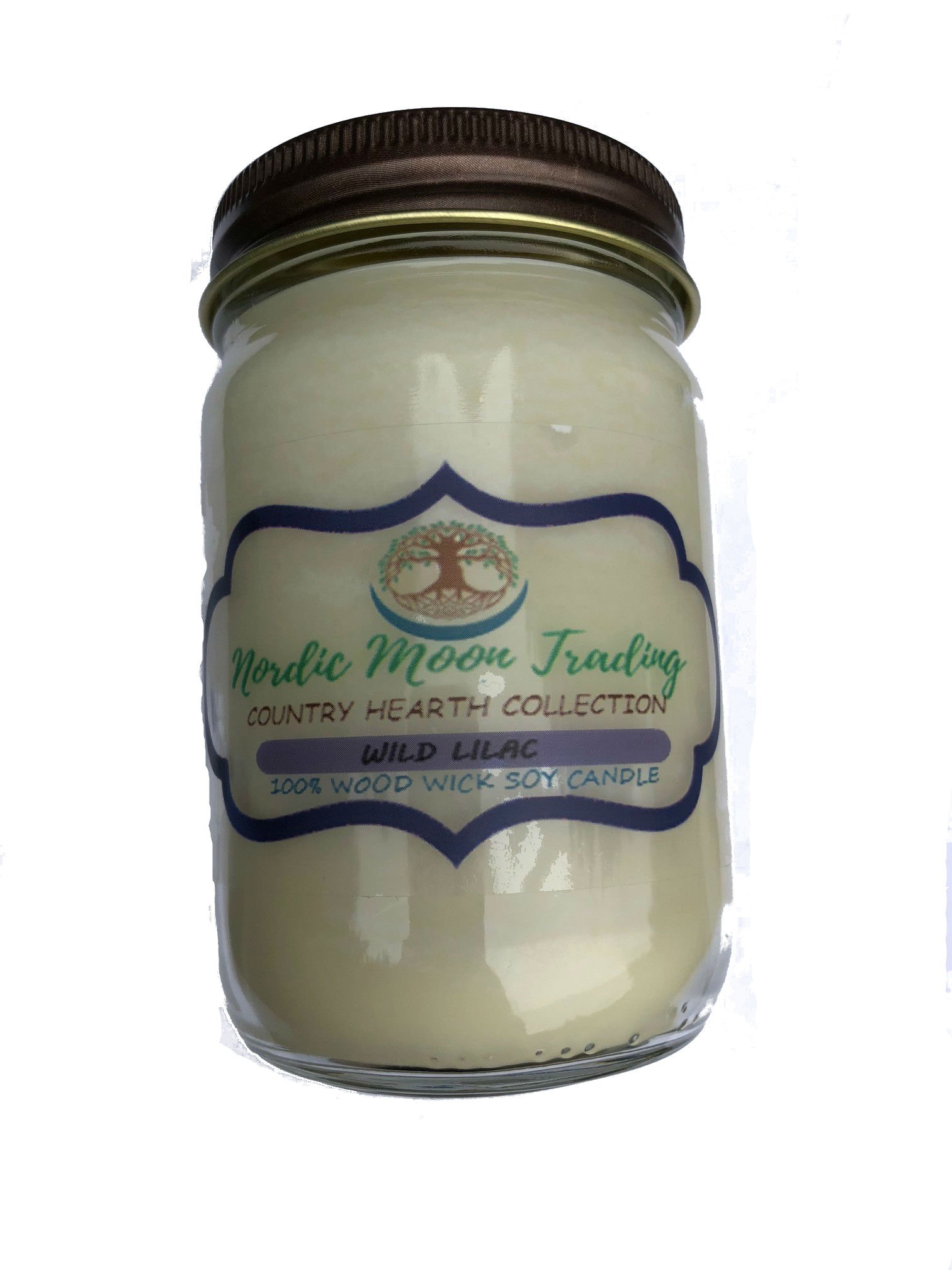 Nordic Moon Trading 100% Natural Soy Wax, Wood Wick Scented Candle 12 oz Mason Jar - Wild Lilac. Made in USA by Family Owned Business. 100 Hours of Burn Time. Clean Burning, No Black Soot.