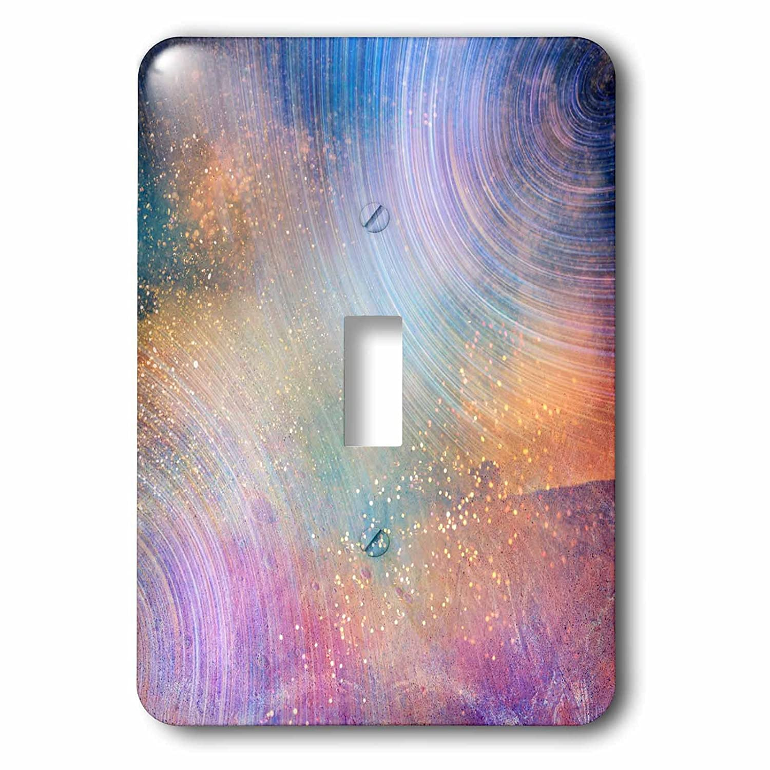 3dRose LSP/_253007/_1 Pink Purple and Gold Sparkle Galaxy Design Single Toggle Switch Blue