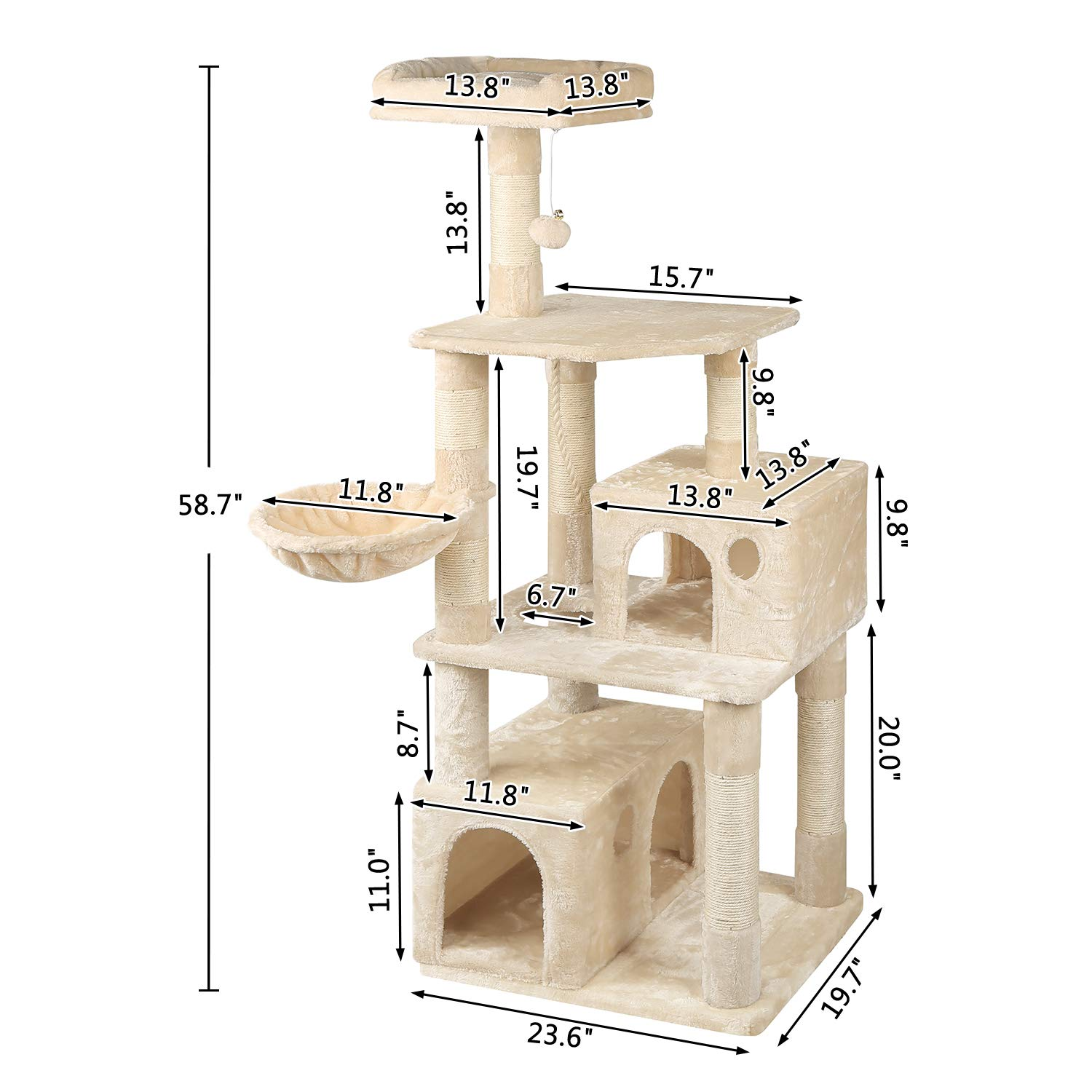 WLIVE 59'' Large Cat Tree Condo with Sisal Scratching Posts, 2 Plush Condos and Basket Lounger, Cat Tower Furniture WF062A by WLIVE (Image #6)