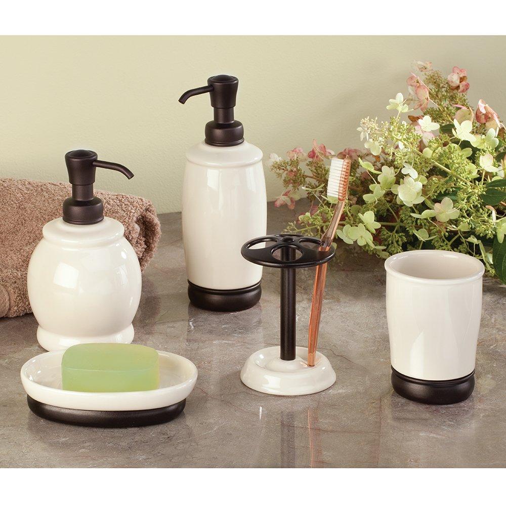 8.25x8.25x21.5 cm InterDesign Ceramic York Dispenser Pompa di Sapone Bianco