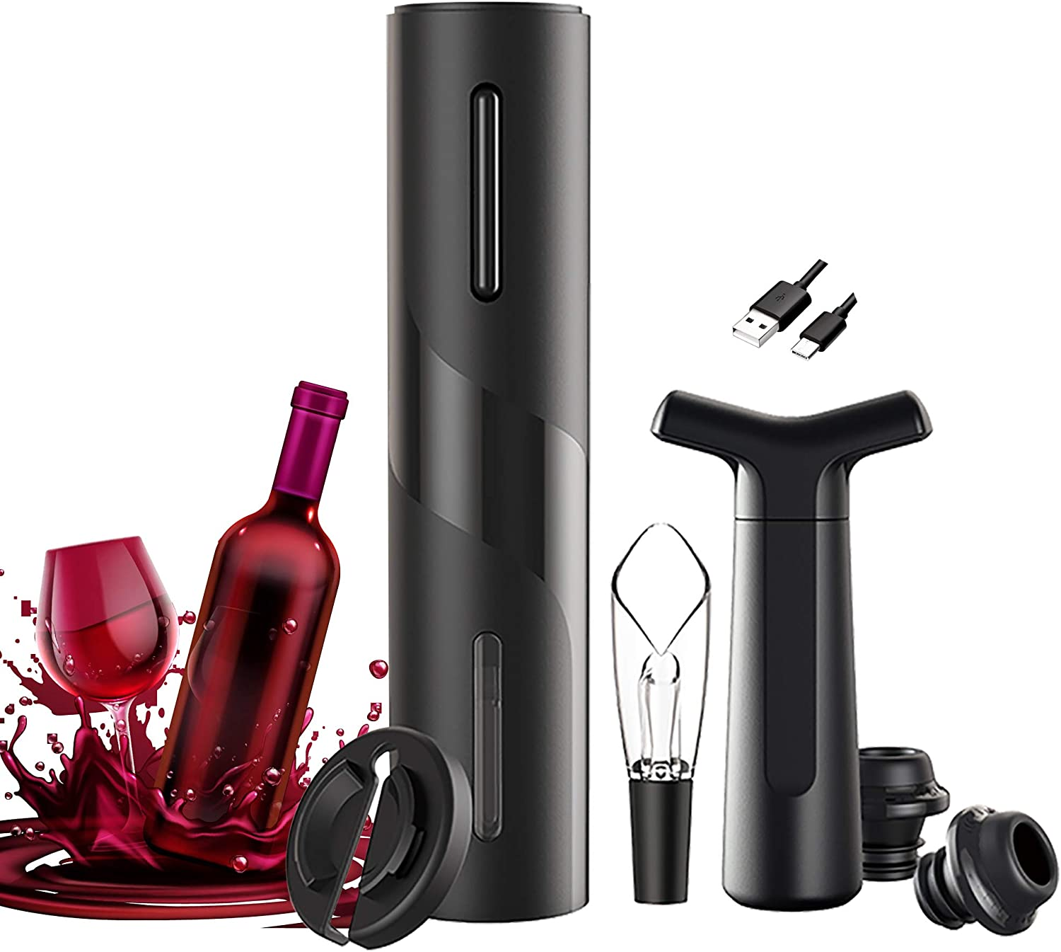 ECTORE Electric Wine Bottle Opener , Automatic Corkscrew Cordless Set Rechargeable With Foil Cutter, Vacuum Pump Plus 2 Stoppers, Aerator & Pourer, USB Charging Cable For Wine Lover 5-in-1 Gift Set