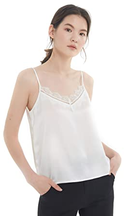 quality products retail prices closer at LILYSILK Caraco Femme Pure Soie Top avec Dentelle Fines ...