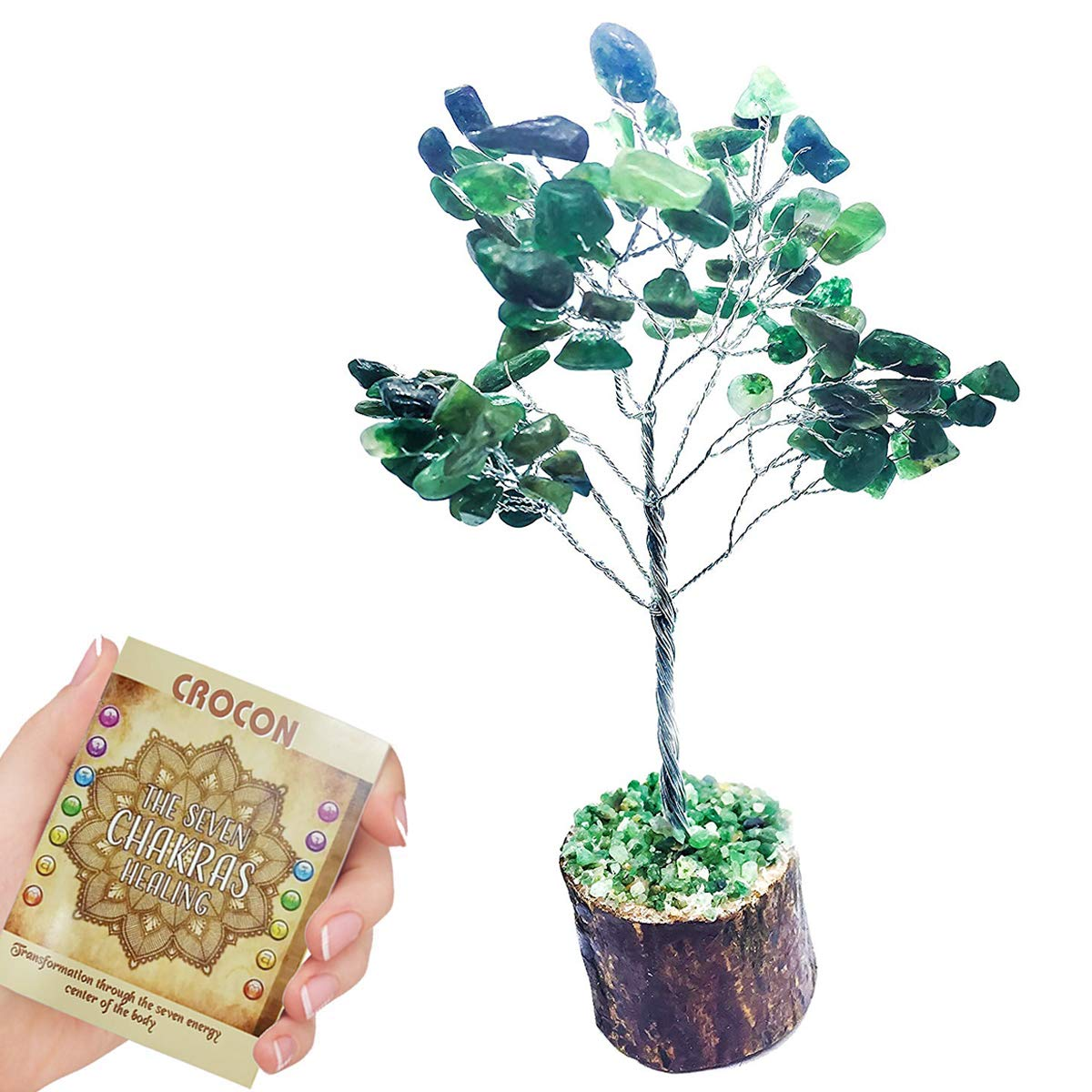 Crocon Natural Color Healing Gemstone Crystal Bonsai Fortune Money Tree for Good Luck Wealth /& Prosperity Spiritual Gift Size 7-8 inch Red Jasper Silver Wire