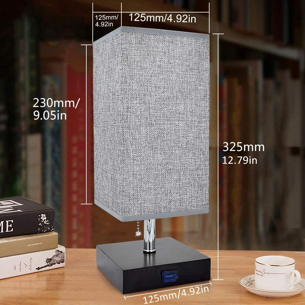 with USB Charging Port,Wooden Desk Lamp LED Bulb Included Square Bedside Table Lamp for Bedroom,Living Room,Coffee Room,Kids,Warm White Grey Fabric Shade