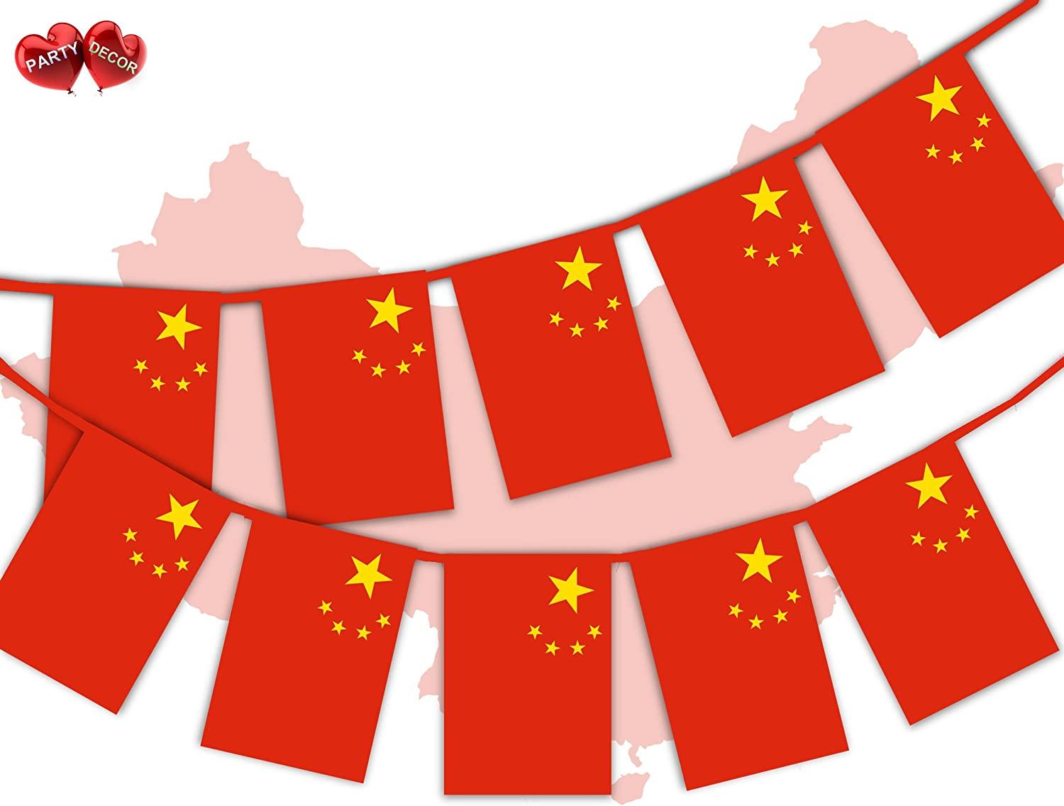 Party Decor China Full Flag Patriotic Themed Bunting Banner 12 Rectangular flags for guaranteed simply stylish party National Royal decoration